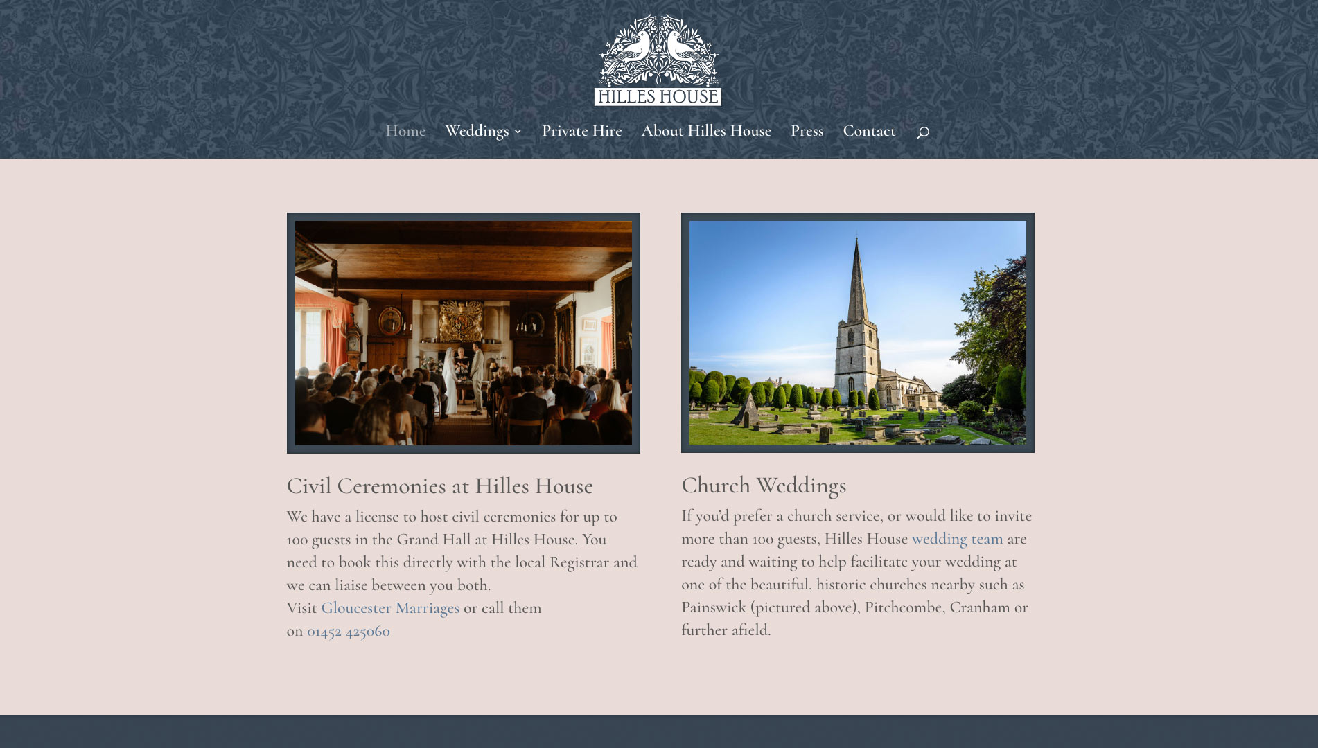 Hilles House - wedding options page
