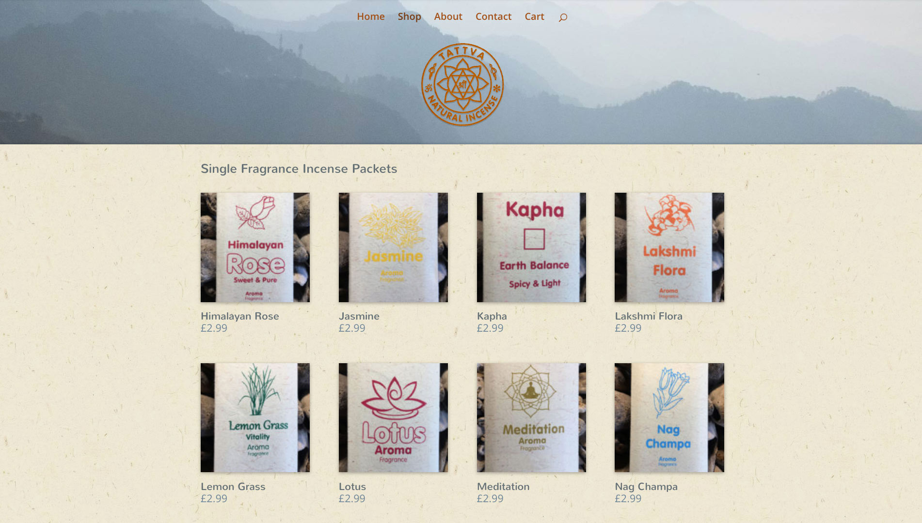 Tattva Incense shop page