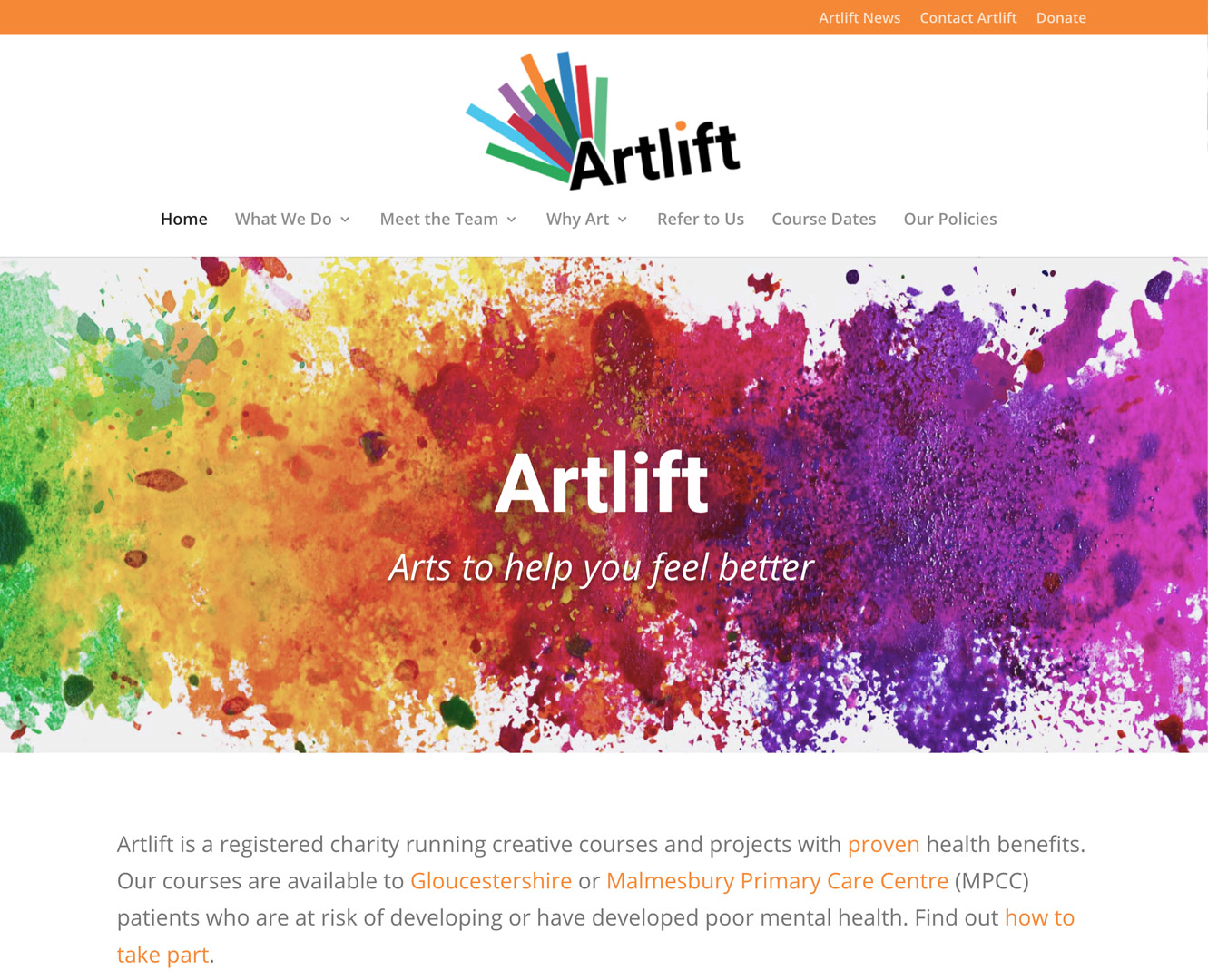 Artlift front page screenshot