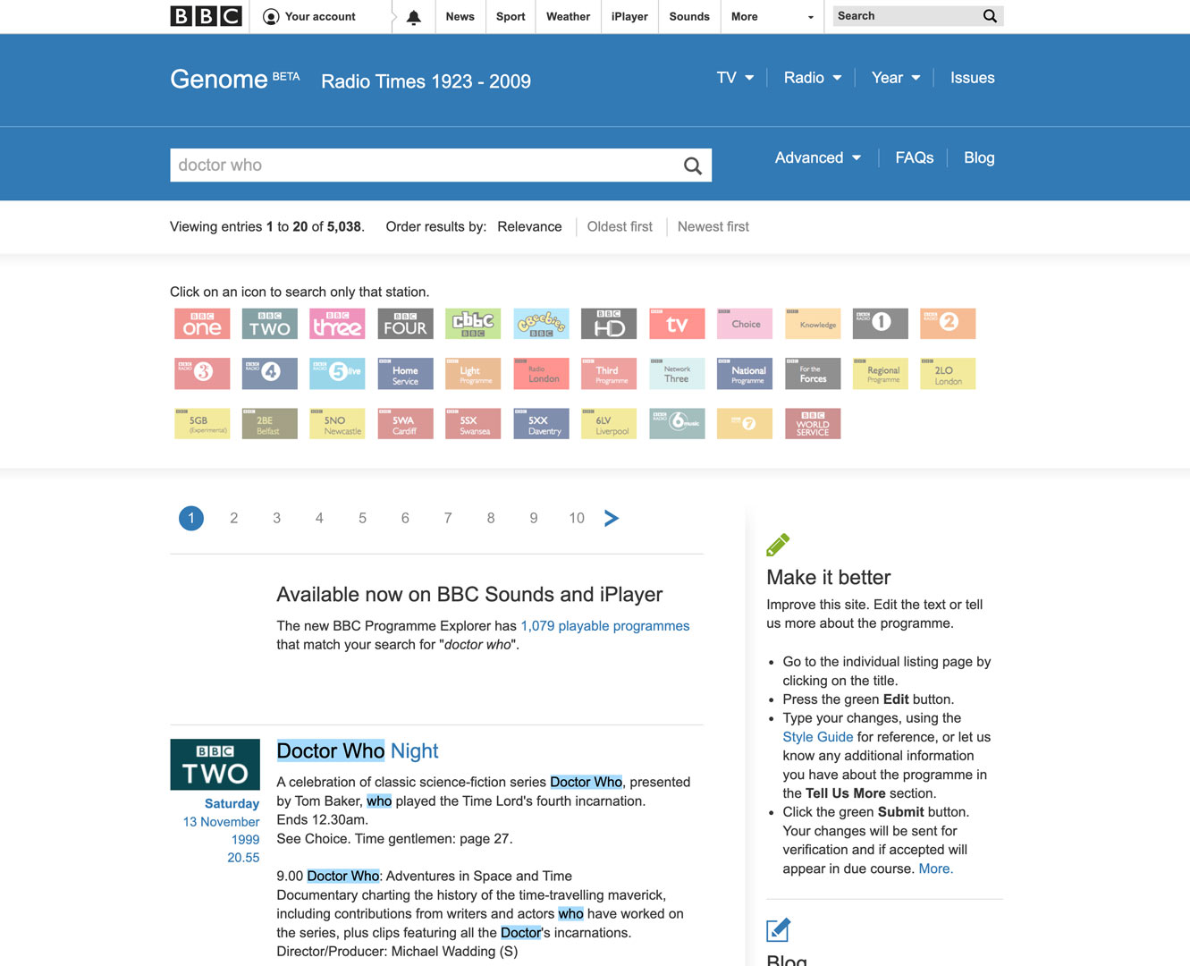 BBC Genome search results screenshot