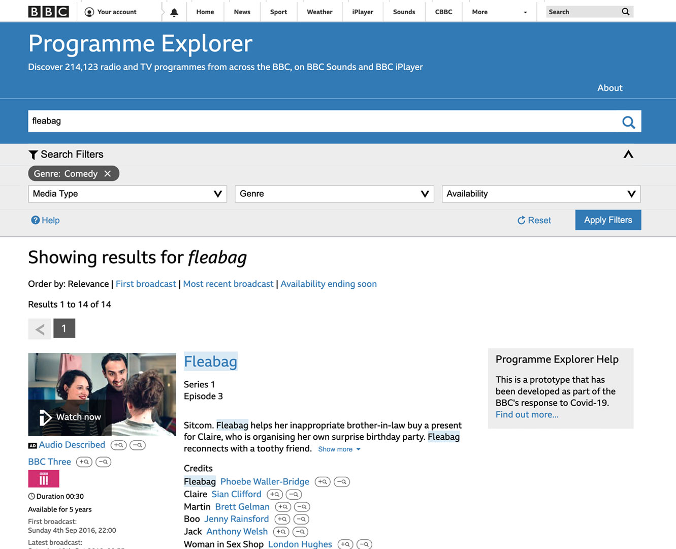 BBC Programme Explorer search results screenshot